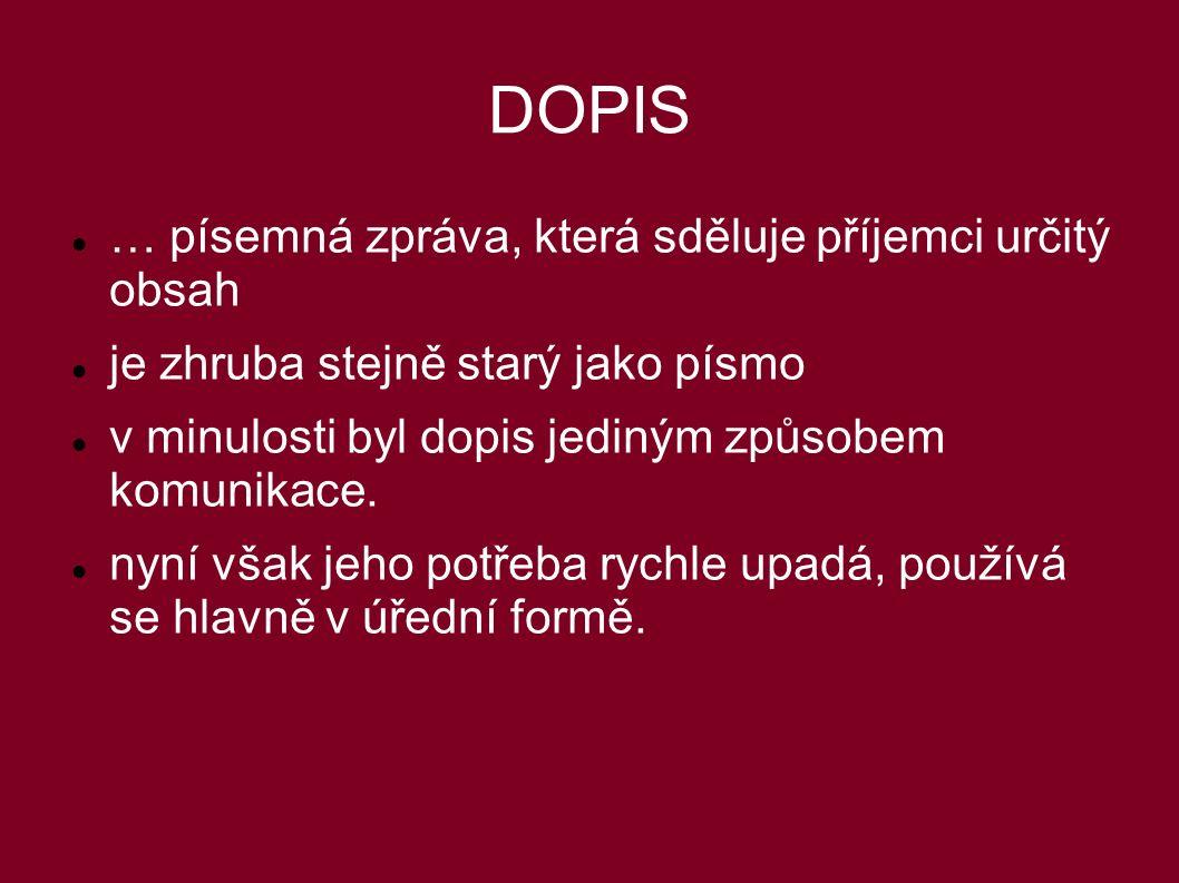 DOPIS … písemná zpráva, která sděluje příjemci určitý obsah je zhruba stejně starý jako písmo v minulosti byl dopis jediným způsobem komunikace.