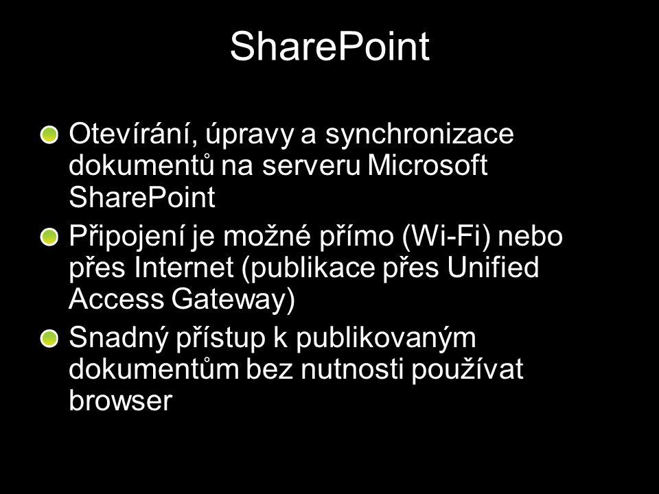SharePoint Otevírání, úpravy a synchronizace dokumentů na serveru Microsoft SharePoint Připojení je možné přímo (Wi-Fi) nebo přes Internet (publikace