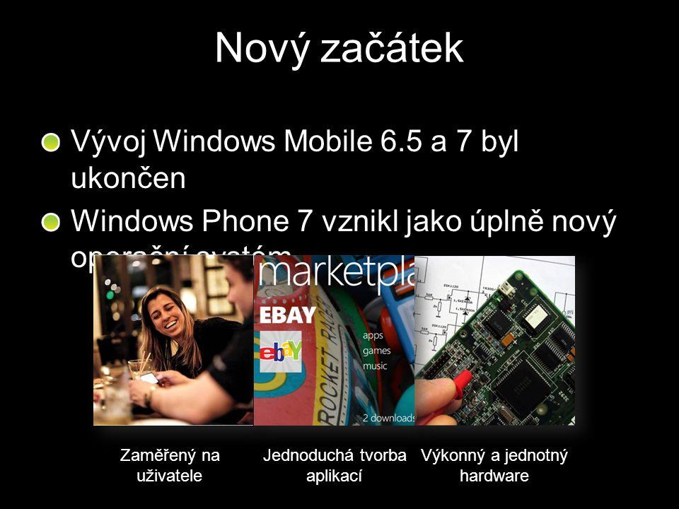 Nový začátek Vývoj Windows Mobile 6.5 a 7 byl ukončen Windows Phone 7 vznikl jako úplně nový operační systém Zaměřený na uživatele Jednoduchá tvorba a