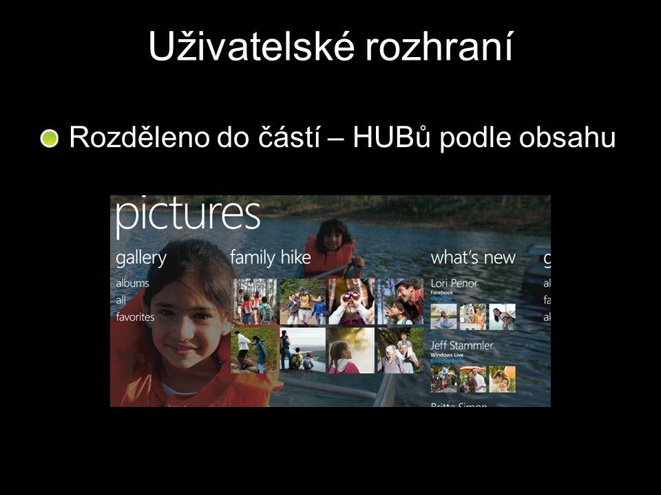Uživatelské rozhraní Rozděleno do částí – HUBů podle obsahu