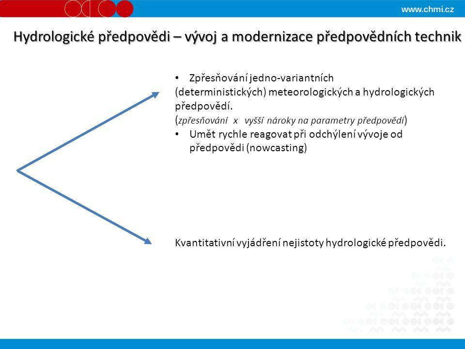 Hydrologické předpovědi – vývoj a modernizace předpovědních technik Zpřesňování jedno-variantních (deterministických) meteorologických a hydrologických předpovědí.