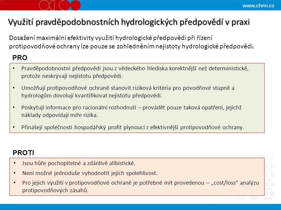 Využití pravděpodobnostních hydrologických předpovědí v praxi Dosažení maximální efektivity využití hydrologické předpovědi při řízení protipovodňové ochrany lze pouze se zohledněním nejistoty hydrologické předpovědi.