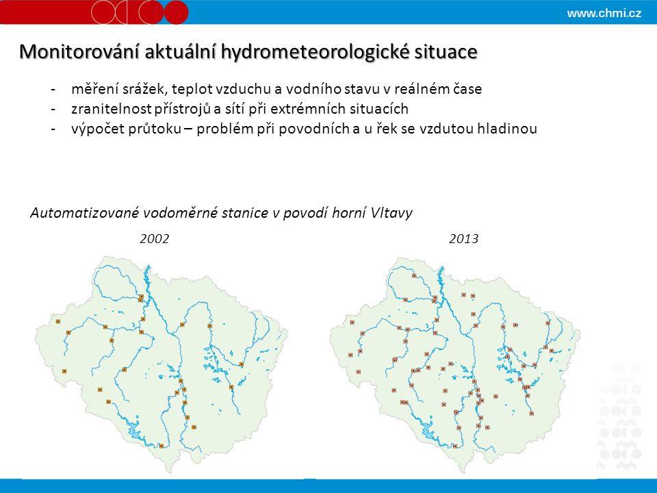 Monitorování aktuální hydrometeorologické situace -měření srážek, teplot vzduchu a vodního stavu v reálném čase -zranitelnost přístrojů a sítí při extrémních situacích -výpočet průtoku – problém při povodních a u řek se vzdutou hladinou Automatizované vodoměrné stanice v povodí horní Vltavy 2002 2013