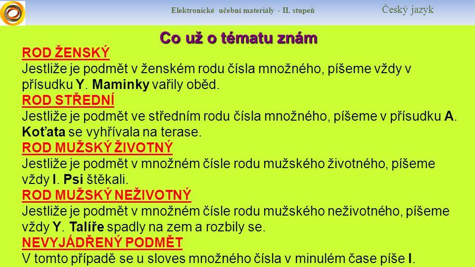 Elektronické učební materiály - II.stupeň Český jazyk Co si řekneme nového.