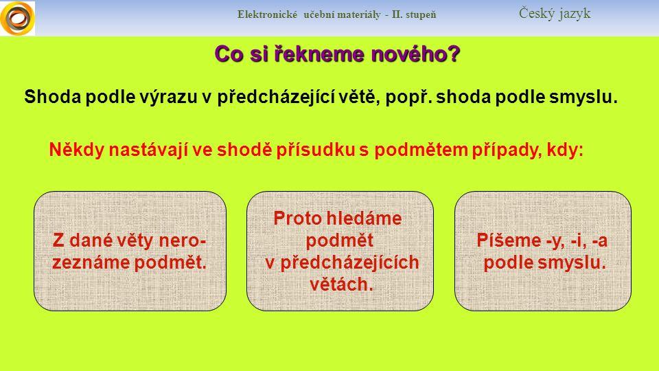 Elektronické učební materiály - II. stupeň Český jazyk Co si řekneme nového.