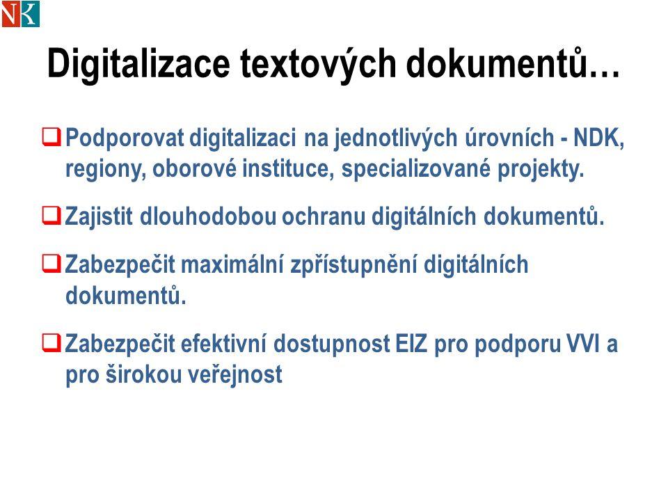 Digitalizace textových dokumentů…  Podporovat digitalizaci na jednotlivých úrovních - NDK, regiony, oborové instituce, specializované projekty.