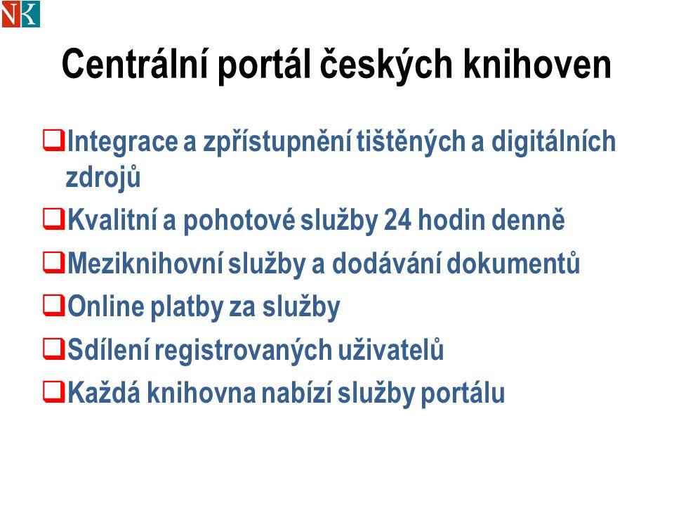 Centrální portál českých knihoven  Integrace a zpřístupnění tištěných a digitálních zdrojů  Kvalitní a pohotové služby 24 hodin denně  Meziknihovní služby a dodávání dokumentů  Online platby za služby  Sdílení registrovaných uživatelů  Každá knihovna nabízí služby portálu
