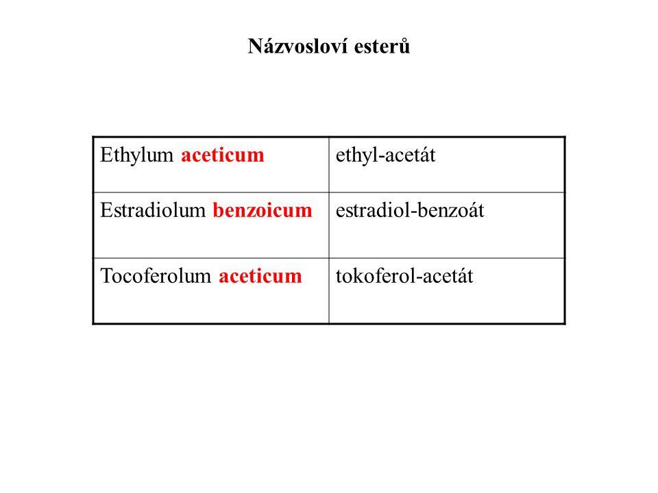 Názvosloví esterů Ethylum aceticumethyl-acetát Estradiolum benzoicumestradiol-benzoát Tocoferolum aceticumtokoferol-acetát