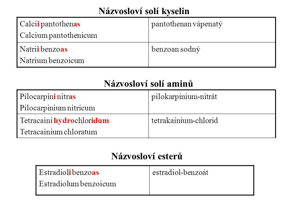 Názvosloví solí kyselin Názvosloví solí aminů Calcii pantothenas Calcium pantothenicum pantothenan vápenatý Natrii benzoas Natrium benzoicum benzoan s