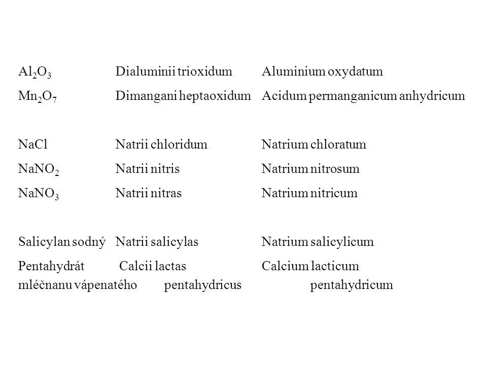 Al 2 O 3 Dialuminii trioxidumAluminium oxydatum Mn 2 O 7 Dimangani heptaoxidumAcidum permanganicum anhydricum NaClNatrii chloridumNatrium chloratum NaNO 2 Natrii nitrisNatrium nitrosum NaNO 3 Natrii nitrasNatrium nitricum Salicylan sodnýNatrii salicylasNatrium salicylicum Pentahydrát Calcii lactas Calcium lacticum mléčnanu vápenatéhopentahydricuspentahydricum