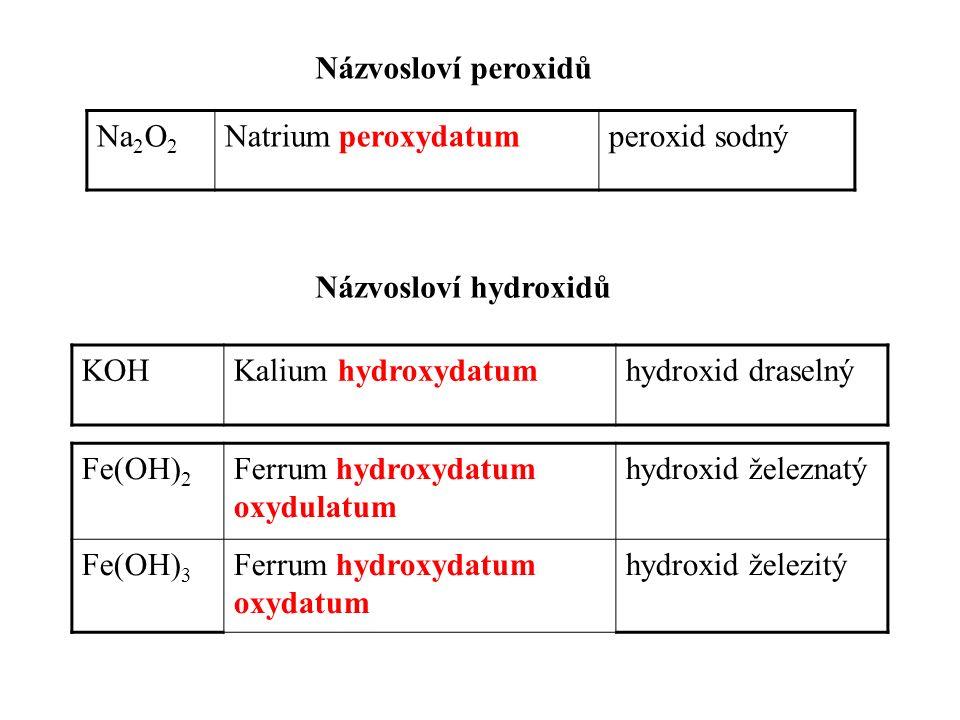Názvosloví hydroxidů KOHKalium hydroxydatumhydroxid draselný Fe(OH) 2 Ferrum hydroxydatum oxydulatum hydroxid železnatý Fe(OH) 3 Ferrum hydroxydatum oxydatum hydroxid železitý Názvosloví peroxidů Na 2 O 2 Natrium peroxydatumperoxid sodný