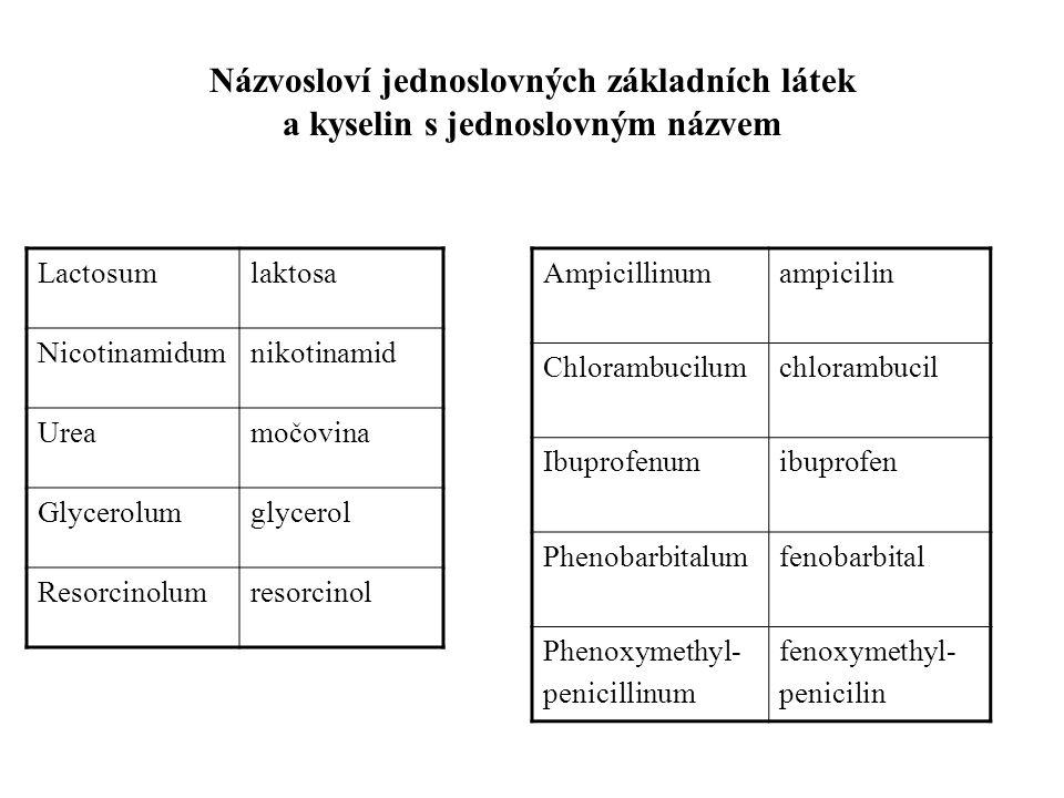 Lactosumlaktosa Nicotinamidumnikotinamid Ureamočovina Glycerolumglycerol Resorcinolumresorcinol Ampicillinumampicilin Chlorambucilumchlorambucil Ibuprofenumibuprofen Phenobarbitalumfenobarbital Phenoxymethyl- penicillinum fenoxymethyl- penicilin Názvosloví jednoslovných základních látek a kyselin s jednoslovným názvem