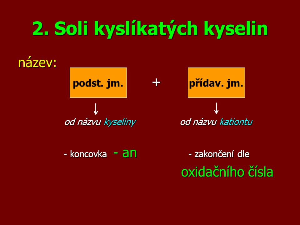 2. Soli kyslíkatých kyselin název: + od názvu kyseliny od názvu kationtu od názvu kyseliny od názvu kationtu - koncovka - an - zakončení dle - koncovk