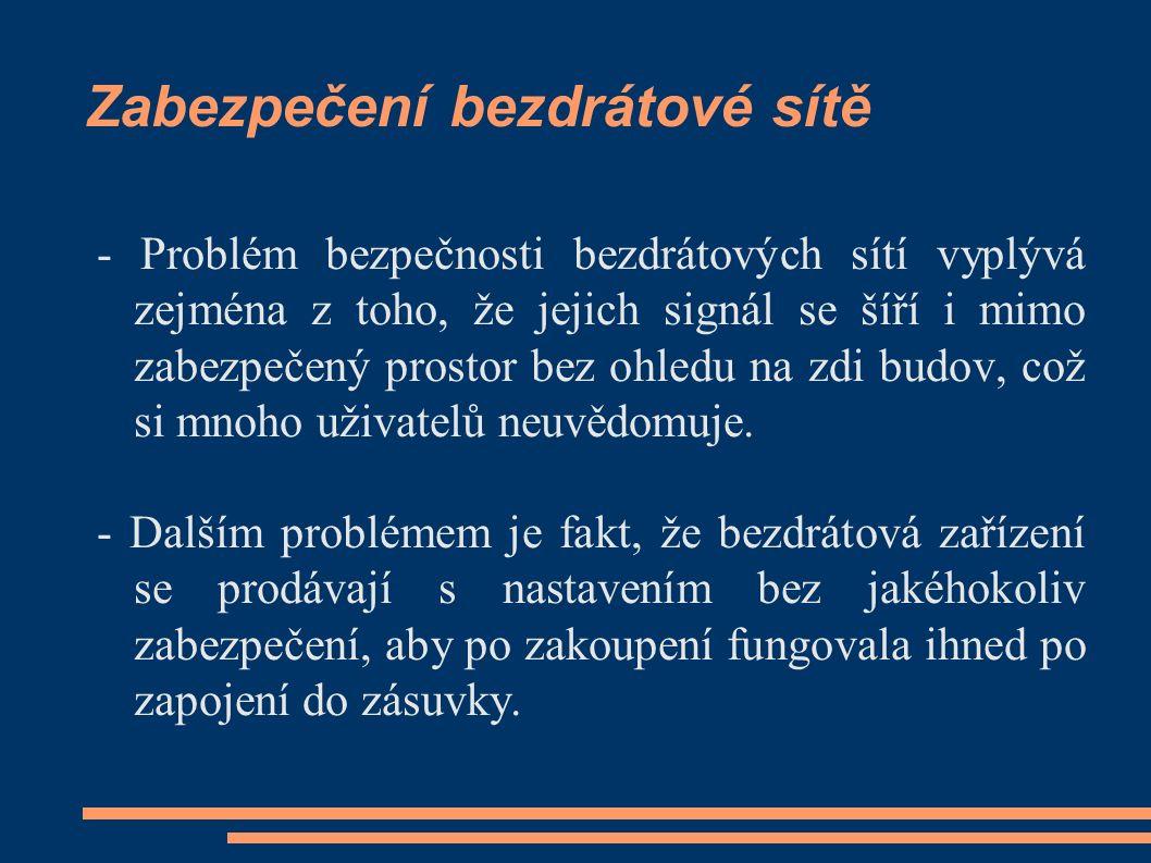 Zabezpečení bezdrátové sítě - Problém bezpečnosti bezdrátových sítí vyplývá zejména z toho, že jejich signál se šíří i mimo zabezpečený prostor bez oh