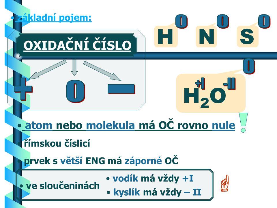OXIDAČNÍ ČÍSLO b Prvek ve sloučenině má dané oxidační číslo.
