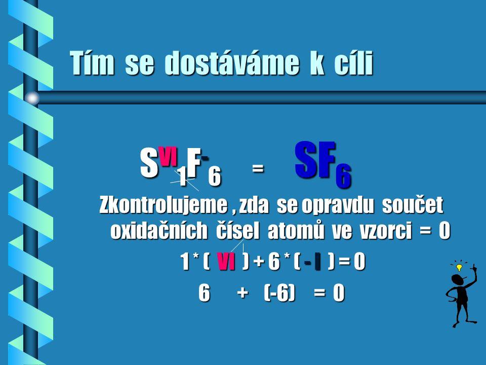 pomůcku KŘÍŽOVÉ PRAVIDLO Zavedeme si pomůcku,kterou budeme nadále používat a které říkáme KŘÍŽOVÉ PRAVIDLO S VI F -I 1 : 6 oxidační číslo jednoho prvku udává počet atomů prvku druhého