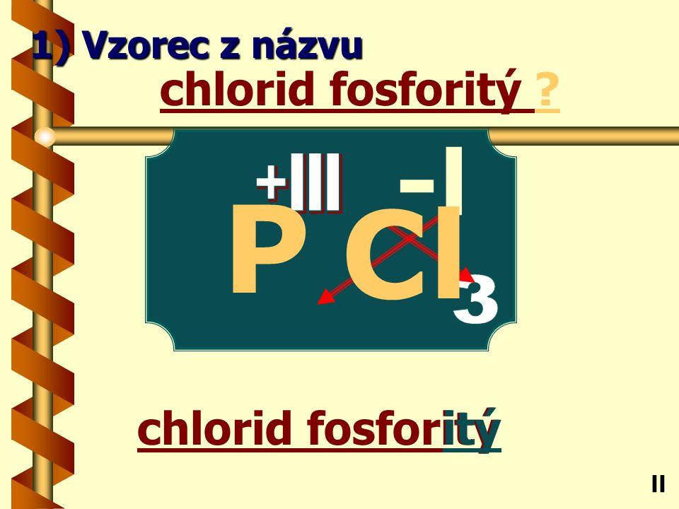 chlorid antimonitý itý chlorid antimonitý ? Sb ll 1) Vzorec z názvu -l Cl
