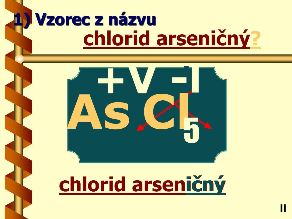 Chlorid olovnatý natý chlorid olovnatý? Pb ll 1) Vzorec z názvu -l Cl 2 +ll