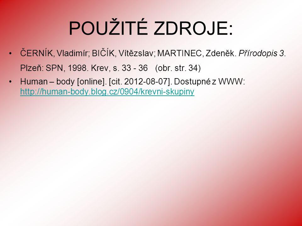 POUŽITÉ ZDROJE: ČERNÍK, Vladimír; BIČÍK, Vítězslav; MARTINEC, Zdeněk.