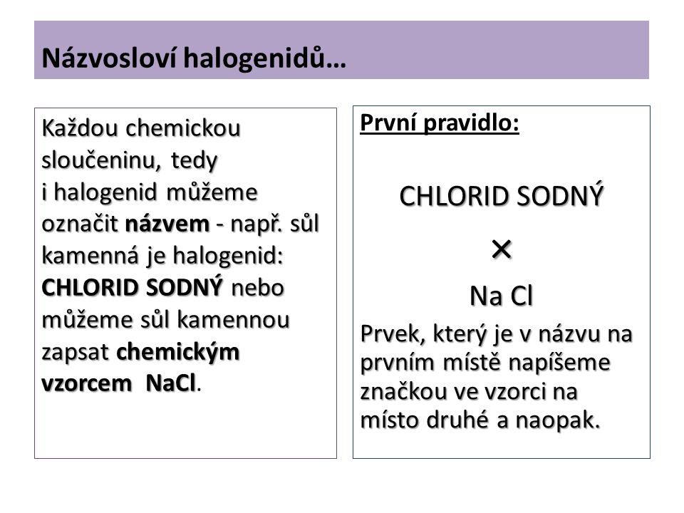 Názvosloví halogenidů… První pravidlo: CHLORID SODNÝ × Na Cl Prvek, který je v názvu na prvním místě napíšeme značkou ve vzorci na místo druhé a naopak.