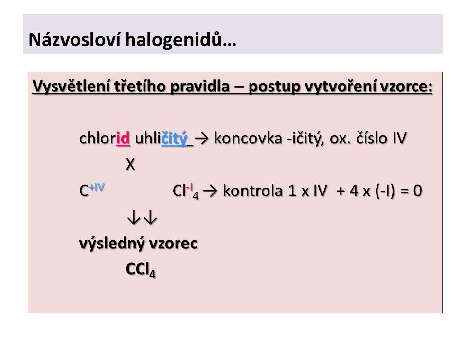 Názvosloví halogenidů… Vysvětlení třetího pravidla – postup vytvoření vzorce: chlorid uhličitý → koncovka -ičitý, ox.