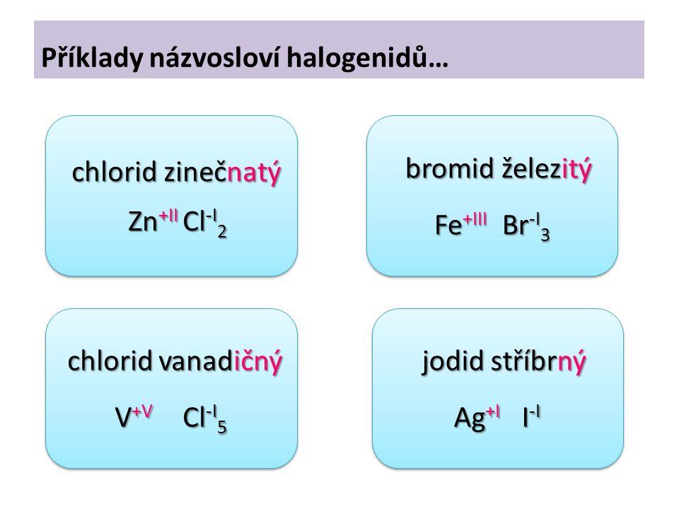 Příklady názvosloví halogenidů… chlorid zinečnatý Zn +II Cl -I 2 Zn +II Cl -I 2 chlorid zinečnatý Zn +II Cl -I 2 Zn +II Cl -I 2 bromid železitý Fe +III Br -I 3 bromid železitý Fe +III Br -I 3 chlorid vanadičný V +V Cl -I 5 chlorid vanadičný V +V Cl -I 5 jodid stříbrný jodid stříbrný Ag +I I -I jodid stříbrný jodid stříbrný Ag +I I -I