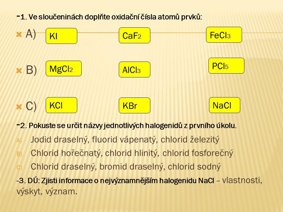  -Zapiš z názvů vzorce halogenidů a naopak:  Jodid draselný  Fluorid vápenatý  Chlorid železitý  Bromid fosforečný  Fluorid sírový  Fluorid jodistý  Fluorid osmičelý  Chlorid draselný  Chlorid sodný