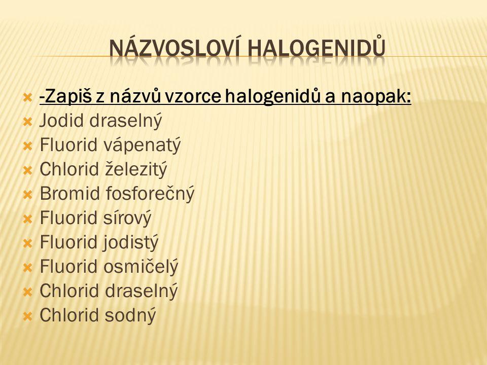  Bromid draselný  Bromid chromitý  Jodid vápenatý  Fluorid draselný  Jodid sodný  Chlorid železitý  Jodid olovnatý  NaCl  KCl  KBr  KI