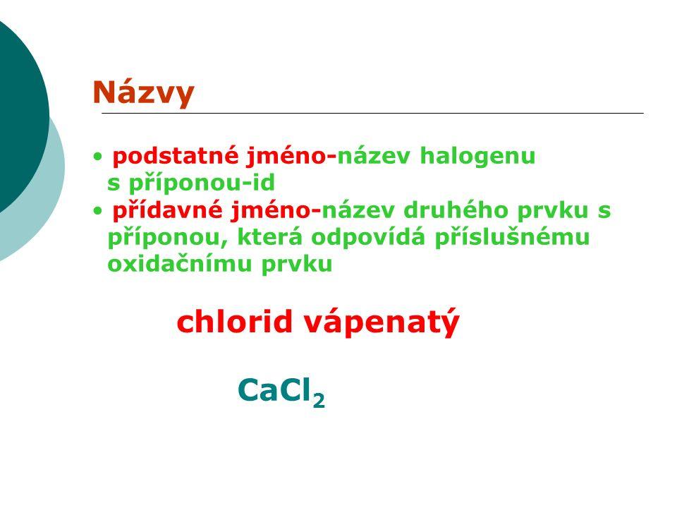 Názvy podstatné jméno-název halogenu s příponou-id přídavné jméno-název druhého prvku s příponou, která odpovídá příslušnému oxidačnímu prvku chlorid vápenatý CaCl 2