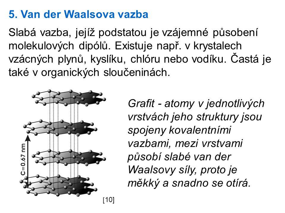 5. Van der Waalsova vazba Slabá vazba, jejíž podstatou je vzájemné působení molekulových dipólů.