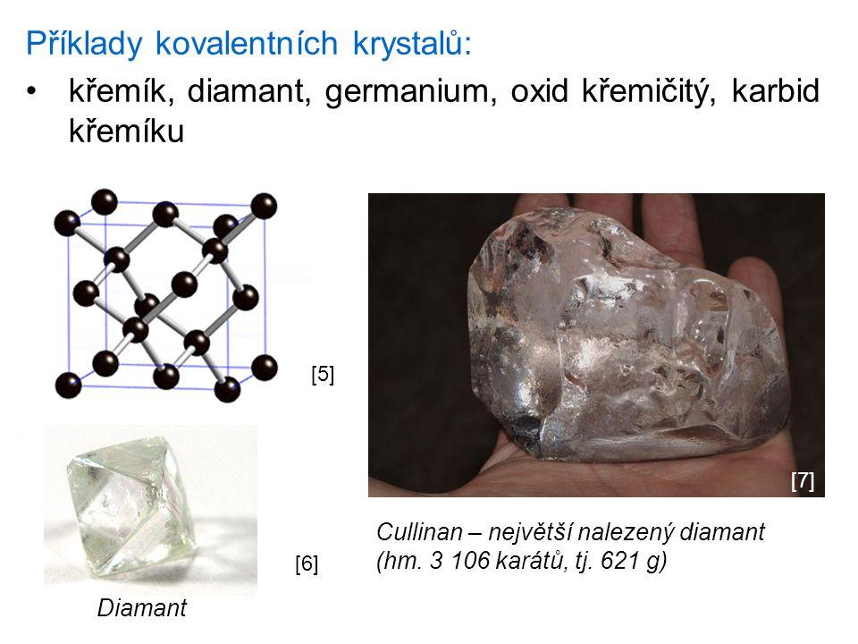 Příklady kovalentních krystalů: křemík, diamant, germanium, oxid křemičitý, karbid křemíku [6] Diamant [5] Cullinan – největší nalezený diamant (hm.