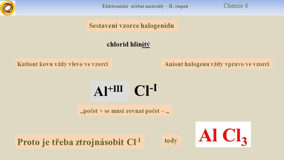 """Elektronické učební materiály - II. stupeň Chemie 8 Al Cl 3 Al +III """"počet + se musí rovnat počet – """" Kationt kovu vždy vlevo ve vzorci Aniont halogen"""