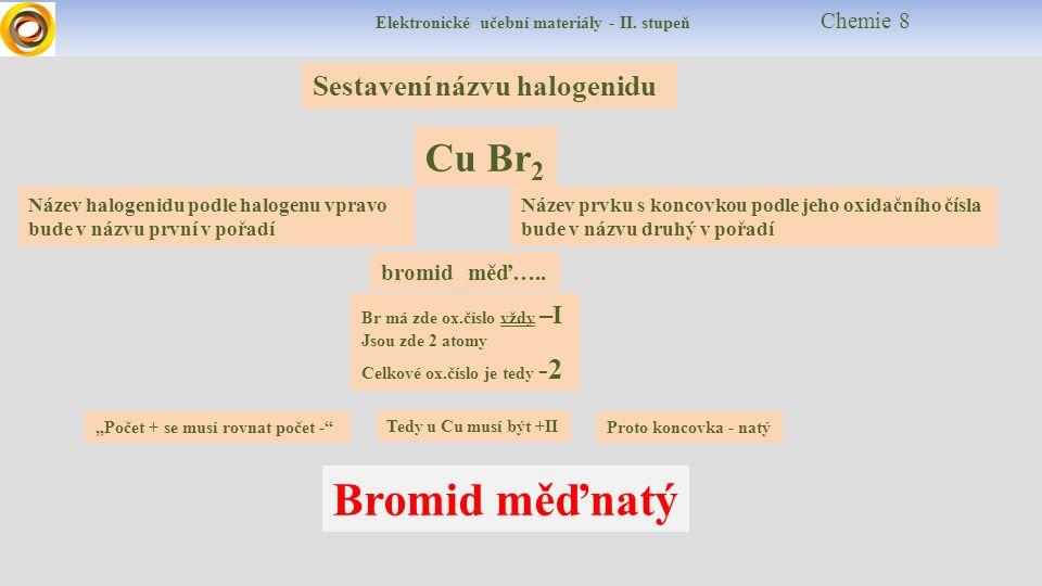 Elektronické učební materiály - II. stupeň Chemie 8 Sestavení názvu halogenidu Cu Br 2 Název halogenidu podle halogenu vpravo bude v názvu první v poř