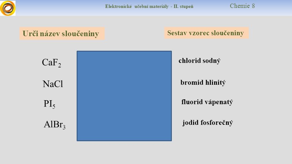 Elektronické učební materiály - II. stupeň Chemie 8 Urči název sloučeniny Sestav vzorec sloučeniny CaF 2 PI 5 AlBr 3 NaCl chlorid sodný jodid fosforeč