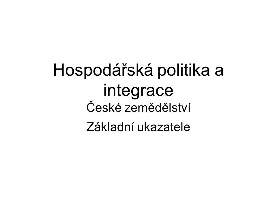 Hospodářská politika a integrace České zemědělství Základní ukazatele