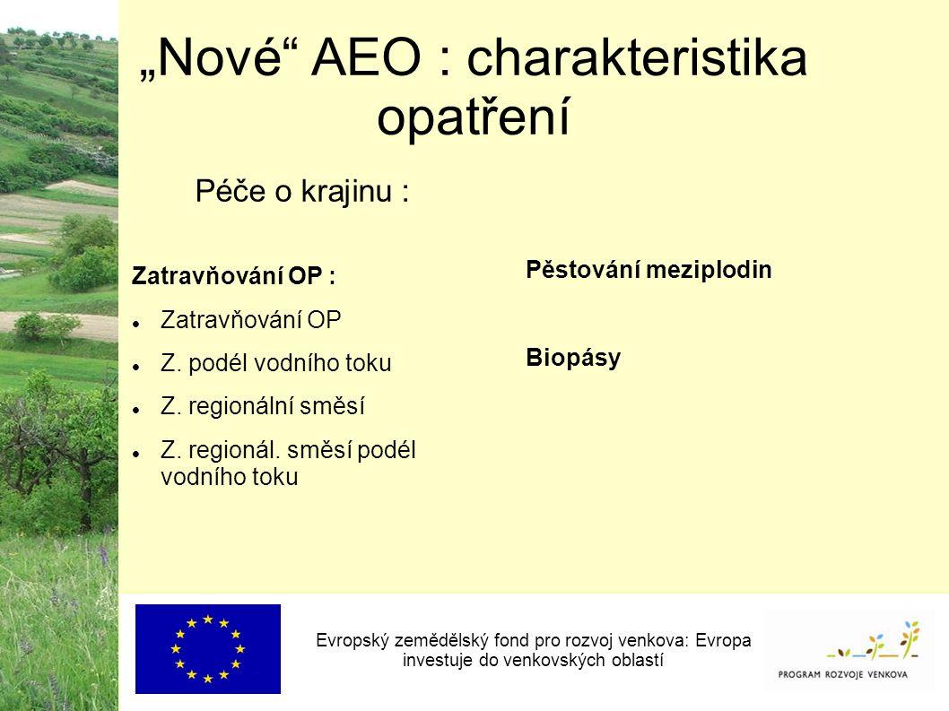 """""""Nové AEO : charakteristika opatření Evropský zemědělský fond pro rozvoj venkova: Evropa investuje do venkovských oblastí Zatravňování OP : Zatravňování OP Z."""