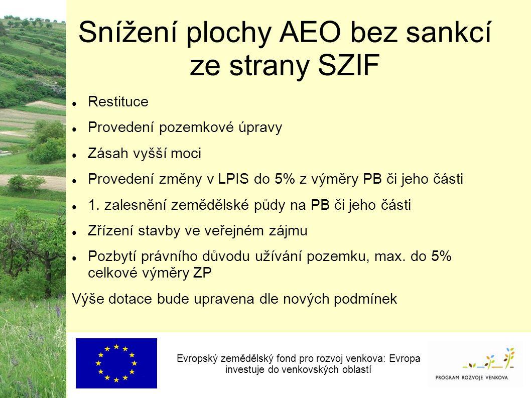 Snížení plochy AEO bez sankcí ze strany SZIF Evropský zemědělský fond pro rozvoj venkova: Evropa investuje do venkovských oblastí Restituce Provedení pozemkové úpravy Zásah vyšší moci Provedení změny v LPIS do 5% z výměry PB či jeho části 1.