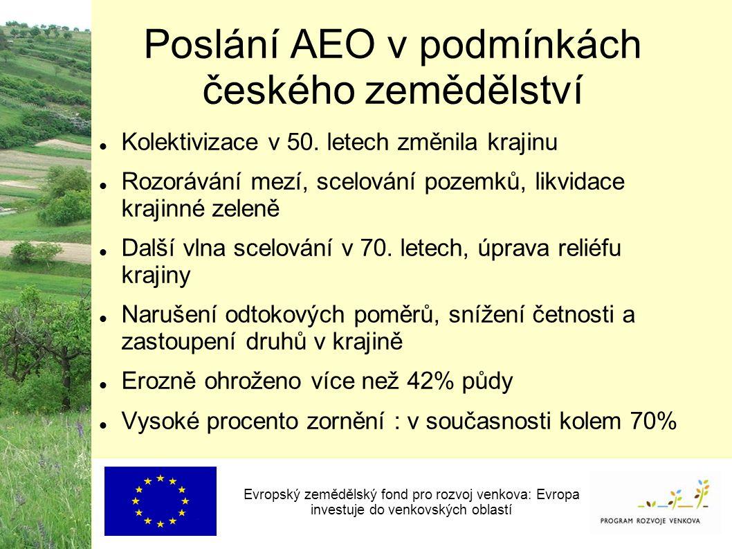Poslání AEO v podmínkách českého zemědělství Evropský zemědělský fond pro rozvoj venkova: Evropa investuje do venkovských oblastí Kolektivizace v 50.