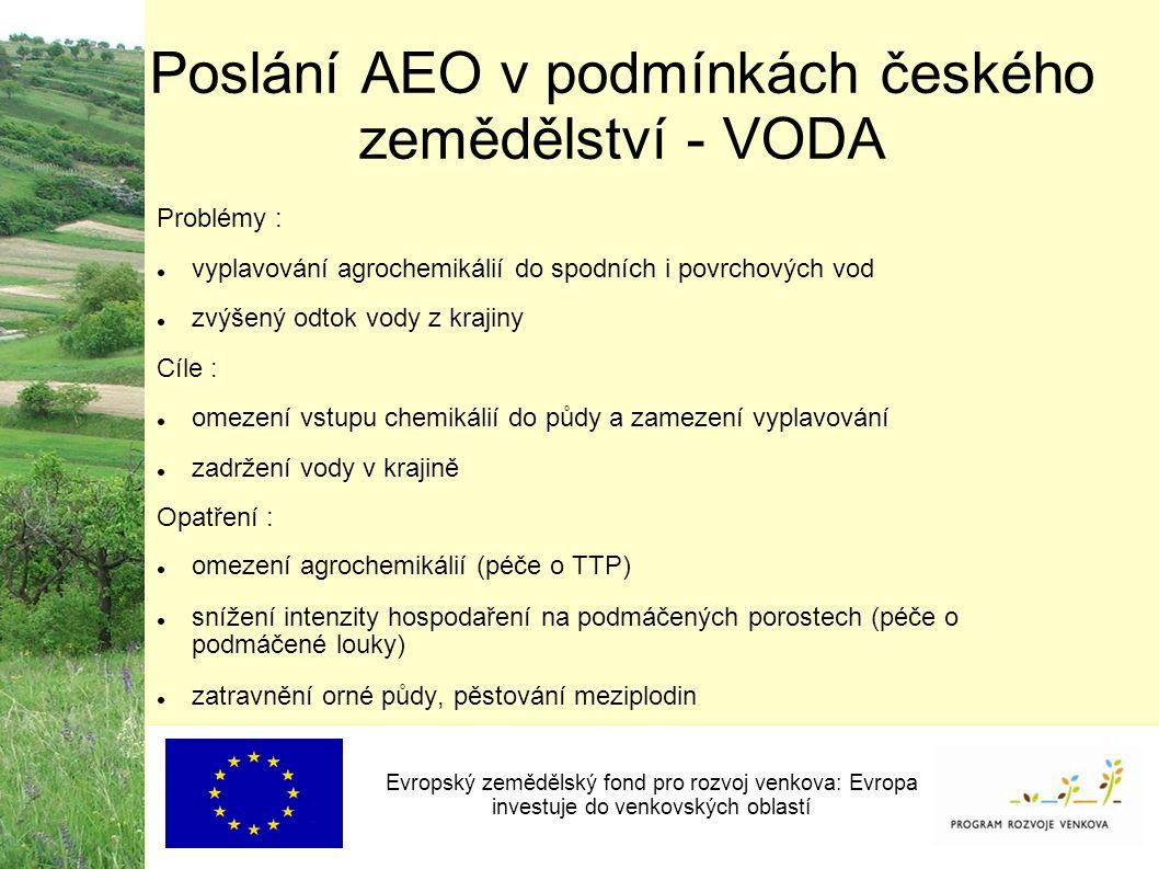 Poslání AEO v podmínkách českého zemědělství - VODA Evropský zemědělský fond pro rozvoj venkova: Evropa investuje do venkovských oblastí Problémy : vyplavování agrochemikálií do spodních i povrchových vod zvýšený odtok vody z krajiny Cíle : omezení vstupu chemikálií do půdy a zamezení vyplavování zadržení vody v krajině Opatření : omezení agrochemikálií (péče o TTP) snížení intenzity hospodaření na podmáčených porostech (péče o podmáčené louky) zatravnění orné půdy, pěstování meziplodin