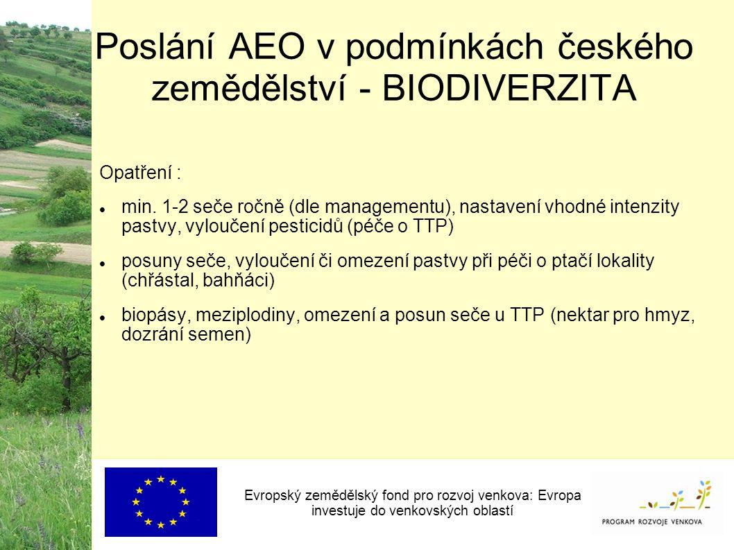 Poslání AEO v podmínkách českého zemědělství - BIODIVERZITA Evropský zemědělský fond pro rozvoj venkova: Evropa investuje do venkovských oblastí Opatření : min.