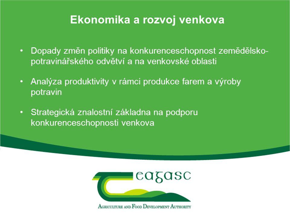 Ekonomika a rozvoj venkova Dopady změn politiky na konkurenceschopnost zemědělsko- potravinářského odvětví a na venkovské oblasti Analýza produktivity v rámci produkce farem a výroby potravin Strategická znalostní základna na podporu konkurenceschopnosti venkova