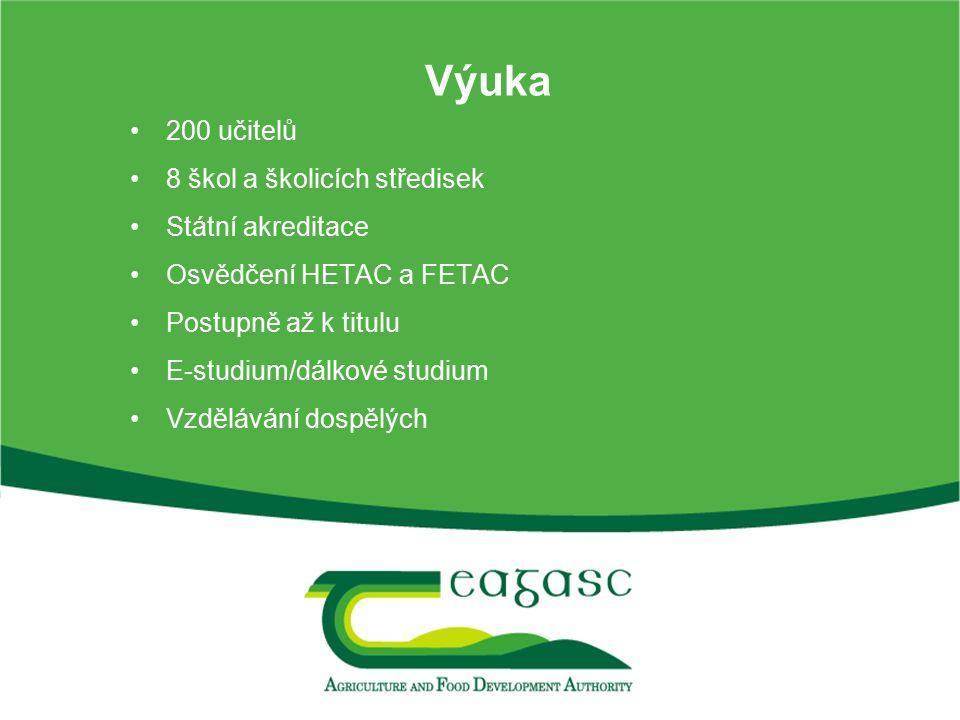 Výuka 200 učitelů 8 škol a školicích středisek Státní akreditace Osvědčení HETAC a FETAC Postupně až k titulu E-studium/dálkové studium Vzdělávání dos
