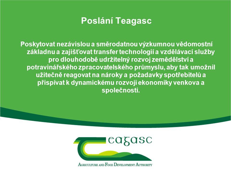 Poslání Teagasc Poskytovat nezávislou a směrodatnou výzkumnou vědomostní základnu a zajišťovat transfer technologií a vzdělávací služby pro dlouhodobě udržitelný rozvoj zemědělství a potravinářského zpracovatelského průmyslu, aby tak umožnil užitečně reagovat na nároky a požadavky spotřebitelů a přispívat k dynamickému rozvoji ekonomiky venkova a společnosti.