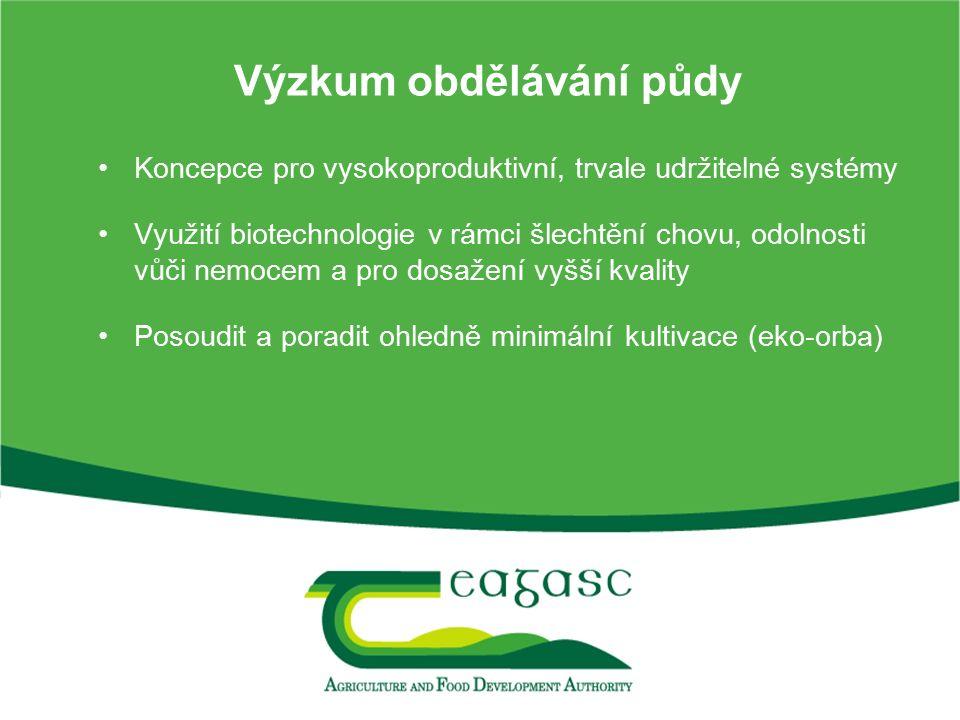 Výzkum obdělávání půdy Koncepce pro vysokoproduktivní, trvale udržitelné systémy Využití biotechnologie v rámci šlechtění chovu, odolnosti vůči nemoce