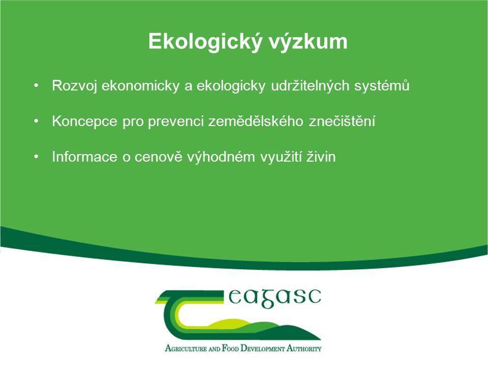 Ekologický výzkum Rozvoj ekonomicky a ekologicky udržitelných systémů Koncepce pro prevenci zemědělského znečištění Informace o cenově výhodném využit