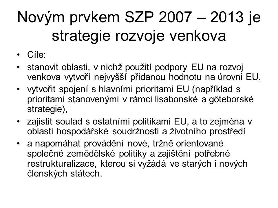 Novým prvkem SZP 2007 – 2013 je strategie rozvoje venkova Cíle: stanovit oblasti, v nichž použití podpory EU na rozvoj venkova vytvoří nejvyšší přidanou hodnotu na úrovni EU, vytvořit spojení s hlavními prioritami EU (například s prioritami stanovenými v rámci lisabonské a göteborské strategie), zajistit soulad s ostatními politikami EU, a to zejména v oblasti hospodářské soudržnosti a životního prostředí a napomáhat provádění nové, tržně orientované společné zemědělské politiky a zajištění potřebné restrukturalizace, kterou si vyžádá ve starých i nových členských státech.