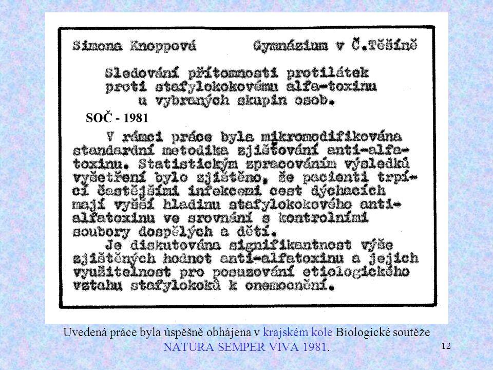 12 Uvedená práce byla úspěšně obhájena v krajském kole Biologické soutěže NATURA SEMPER VIVA 1981.