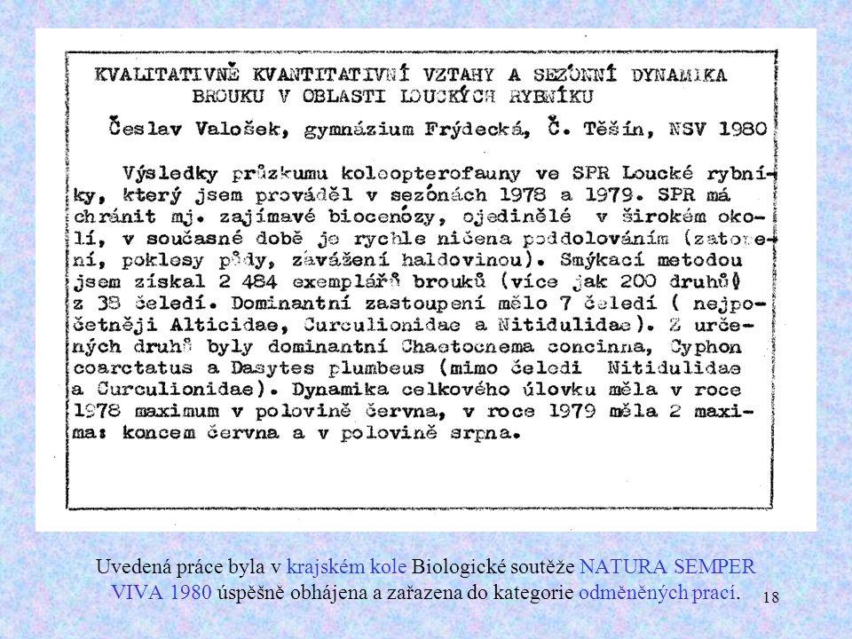 18 Uvedená práce byla v krajském kole Biologické soutěže NATURA SEMPER VIVA 1980 úspěšně obhájena a zařazena do kategorie odměněných prací.