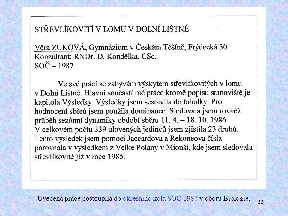 22 Uvedená práce postoupila do okresního kola SOČ 1987 v oboru Biologie.