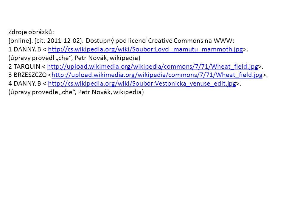 Zdroje obrázků: [online]. [cit. 2011-12-02]. Dostupný pod licencí Creative Commons na WWW: 1 DANNY. B.http://cs.wikipedia.org/wiki/Soubor:Lovci_mamutu